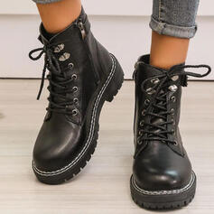 Dla kobiet PU Obcas Slupek Kozaki Martin Buty Round Toe Z Klamra Zamek błyskawiczny Sznurowanie Jednolity kolor obuwie