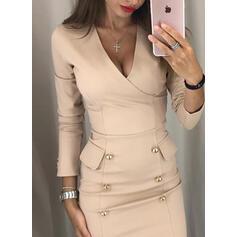 Jednolita Długie rękawy Bodycon Nad kolana Casual/Elegancki Sukienki