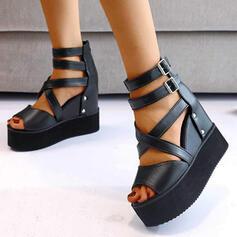 Dla kobiet PU Obcas Koturnowy Sandały Z Klamra Jednolity kolor W kratke obuwie