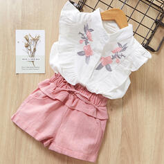 2-pieces Toddler Girl Button Floral Cotton Set