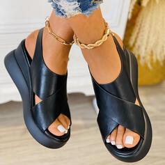 Dla kobiet PU Obcas Koturnowy Sandały Platforma Koturny Otwarty Nosek Buta Bez Pięty Z Jednolity kolor W kratke obuwie