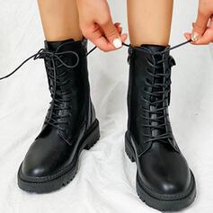 Dla kobiet Skóra ekologiczna Niski Obcas Round Toe Z Zamek błyskawiczny Sznurowanie Jednolity kolor obuwie