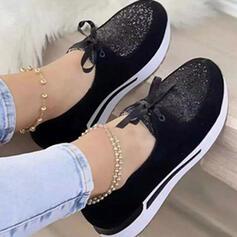 Dla kobiet PU Pozostałe Plaskie Round Toe Z Stras/ Krysztal Górski Sznurowanie Wydrukować obuwie