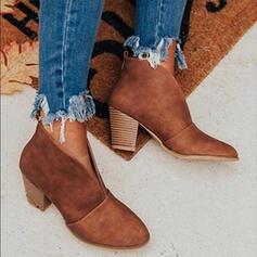 Dla kobiet Zamsz Obcas Slupek Kozaki Botki Z Jednolity kolor obuwie