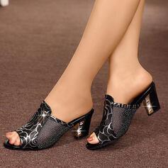 Dla kobiet Skóra z mikrofibry Niski Obcas Sandały Kapcie Z Cekin obuwie