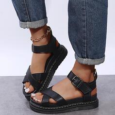 Dla kobiet PU Płaski Obcas Sandały Z Klamra Tkanina Wypalana Jednolity kolor obuwie