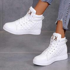 Dla kobiet PU Płaski Obcas Kozaki Z Sznurowanie Jednolity kolor obuwie