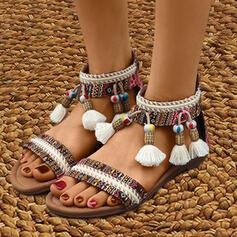 Dla kobiet Material PU Płaski Obcas Sandały Bez Pięty Z Zamek błyskawiczny Frędzle Kwiaty obuwie