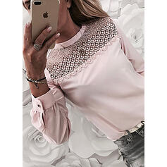 Solid Lace Beaded Round Neck Long Sleeves Casual Blouses