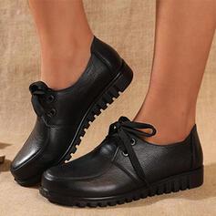 Dla kobiet Prawdziwa Skóra Płaski Obcas Plaskie Niskie góry Round Toe Niesznurowane mokasyny Z Sznurowanie Jednolity kolor obuwie