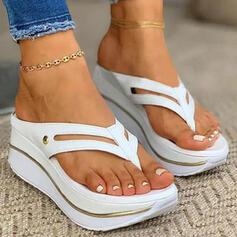 Dla kobiet PU Obcas Koturnowy Sandały Japonki Kapcie Z Tkanina Wypalana Jednolity kolor obuwie