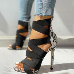 Dla kobiet PU Obcas Stiletto Sandały Czólenka Otwarty Nosek Buta Z Nadruk Zwierzęcy Zamek błyskawiczny obuwie