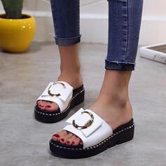 Women's PU Wedge Heel Sandals Platform Wedges Peep Toe Slippers Heels With Buckle shoes