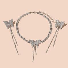 Świecący W kształcie motyla Projekt frędzle Stop Cyrkonie Z Motyl Cyrkonie Zestawy biżuterii Naszyjniki Kolczyki 3 SZT