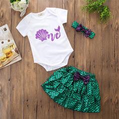 2-pieces Baby Girl Bowknot Ruffle Print Cotton Set