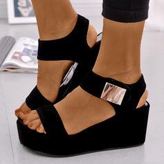 Women's PU Wedge Heel Sandals Platform Wedges Peep Toe Heels With Buckle shoes