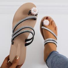 Dla kobiet PU Płaski Obcas Sandały Kapcie Pierścień na palec Z Stras/ Krysztal Górski Imitacja Pereł obuwie