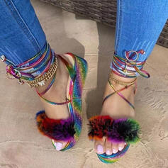 Women's PU Flat Heel Sandals Platform Round Toe With Rhinestone Feather Ribbon Tie Lace-up shoes