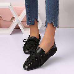 Dla kobiet Zamsz Płaski Obcas Plaskie Z Sznurowanie Tkanina Wypalana Jednolity kolor obuwie