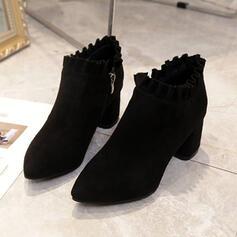 Dla kobiet Zamsz Obcas Stożek Botki Spiczasty palec u nogi Z Żabot Jednolity kolor obuwie