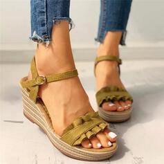 Dla kobiet PU Obcas Koturnowy Sandały Platforma Koturny Otwarty Nosek Buta Z Klamra Marszczenie Jednolity kolor obuwie