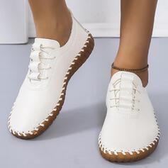 Dla kobiet PU Płaski Obcas Plaskie Niskie góry Round Toe Tenisówki Z Sznurowanie Jednolity kolor obuwie