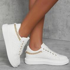 Dla kobiet PU Płaski Obcas Platforma Plaskie Tenisówki Z Łańcuszek Sznurowanie Jednolity kolor obuwie