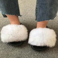 Dla kobiet Sztuczne futro Płaski Obcas Sandały Otwarty Nosek Buta Z Futro obuwie