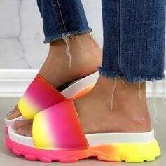 Dla kobiet Skóra ekologiczna Niski Obcas Sandały Platforma Koturny Otwarty Nosek Buta Kapcie Z Kolor splotu obuwie