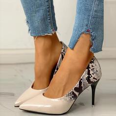 Dla kobiet PU Obcas Stiletto Spiczasty palec u nogi Z Nadruk Zwierzęcy Kolor splotu obuwie