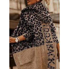 Nadruk lampart Wytłaczany Bluza z kapturem Nieformalny Swetry