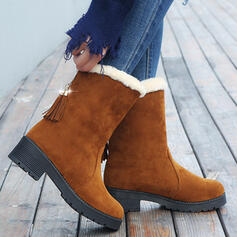 Dla kobiet Material Platforma Kozaki Z Frędzle Sztuczne Futro Colorblock obuwie