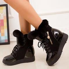 Dla kobiet PU Obcas Koturnowy Kozaki Buty zimowe Z Zamek błyskawiczny Sztuczne Futro Jednolity kolor obuwie