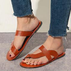 Dla kobiet PU Płaski Obcas Otwarty Nosek Buta Kapcie Z Jednolity kolor obuwie