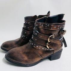 Dla kobiet Skóra ekologiczna Obcas Slupek Round Toe Z Nit Klamra Jednolity kolor obuwie