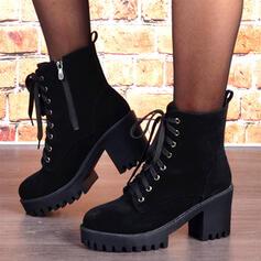 Dla kobiet Zamsz Obcas Slupek Martin Buty Round Toe Z Zamek błyskawiczny Sznurowanie obuwie