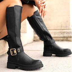 Dla kobiet Skóra ekologiczna Obcas Slupek Kozaki Martin Buty Buty zimowe Z Klamra Zamek błyskawiczny Jednolity kolor obuwie