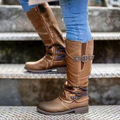 Dla kobiet PU Obcas Slupek Kozaki do polowy lydki Riding Boots Round Toe Z Klamra Zamek błyskawiczny Jednolity kolor obuwie