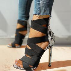 Dla kobiet PU Obcas Stiletto Sandały Czólenka Otwarty Nosek Buta Obcasy Z Nadruk Zwierzęcy Zamek błyskawiczny obuwie