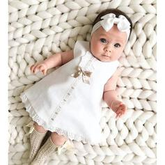 2-pieces Baby Girl Bowknot Solid Lace Set