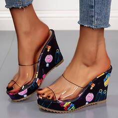 Dla kobiet PU Obcas Koturnowy Sandały Platforma Koturny Otwarty Nosek Buta Kapcie Z Pozostałe obuwie