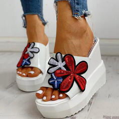Women's Denim Wedge Heel Sandals Platform Wedges Peep Toe Slippers Heels With Hollow-out Floral Print shoes