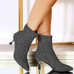 Dla kobiet Byszczący brokat Obcas Stiletto Kozaki Botki Z Jednolity kolor obuwie