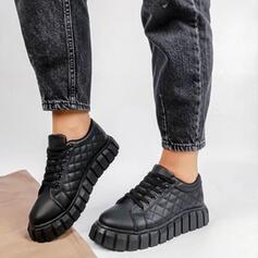 Dla kobiet PU Płaski Obcas Plaskie Round Toe Tenisówki Z Sznurowanie Jednolity kolor obuwie