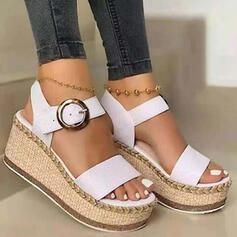 Dla kobiet PU Obcas Koturnowy Sandały Koturny Otwarty Nosek Buta Z Klamra Jednolity kolor obuwie