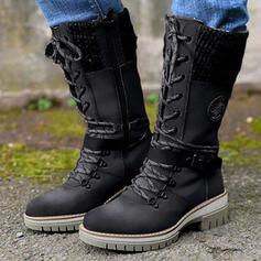 Dla kobiet PU Obcas Slupek Kozaki Kozaki do polowy lydki Martin Buty Round Toe Buty bojowe Z Klamra Sznurowanie Jednolity kolor obuwie