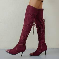 Dla kobiet Zamsz Obcas Stiletto Kozaki do kolan Spiczasty palec u nogi Z Zamek błyskawiczny Sznurowanie obuwie