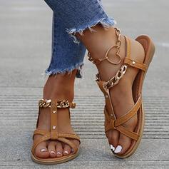 Dla kobiet PU Płaski Obcas Sandały Plaskie Otwarty Nosek Buta Bez Pięty Z Klamra Łańcuszek Tkanina Wypalana obuwie