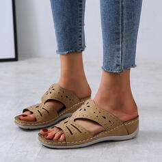 Dla kobiet Skóra ekologiczna Obcas Koturnowy Sandały Otwarty Nosek Buta Kapcie Z Tkanina Wypalana obuwie