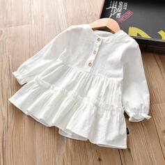 Dziewczynki 2-5lat Jednolity Bawełna Suknia